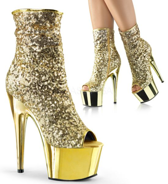 Open Toe Stiefelette mit goldfarbenen Pailletten und goldfarben verchromtem Plateau ADORE-1008SQ